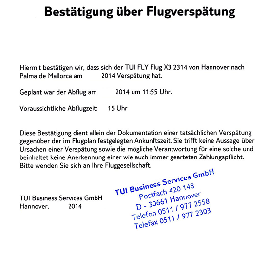 entschdigung fr flugversptung mit tuifly auf flug x32314 von hannover nach mallorca fluggastrechte - Flugverspatung Entschadigung Muster