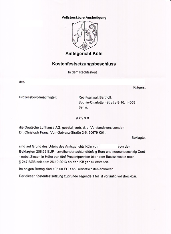 Lufthansa Germanwings Entschädigung Flugverspätung