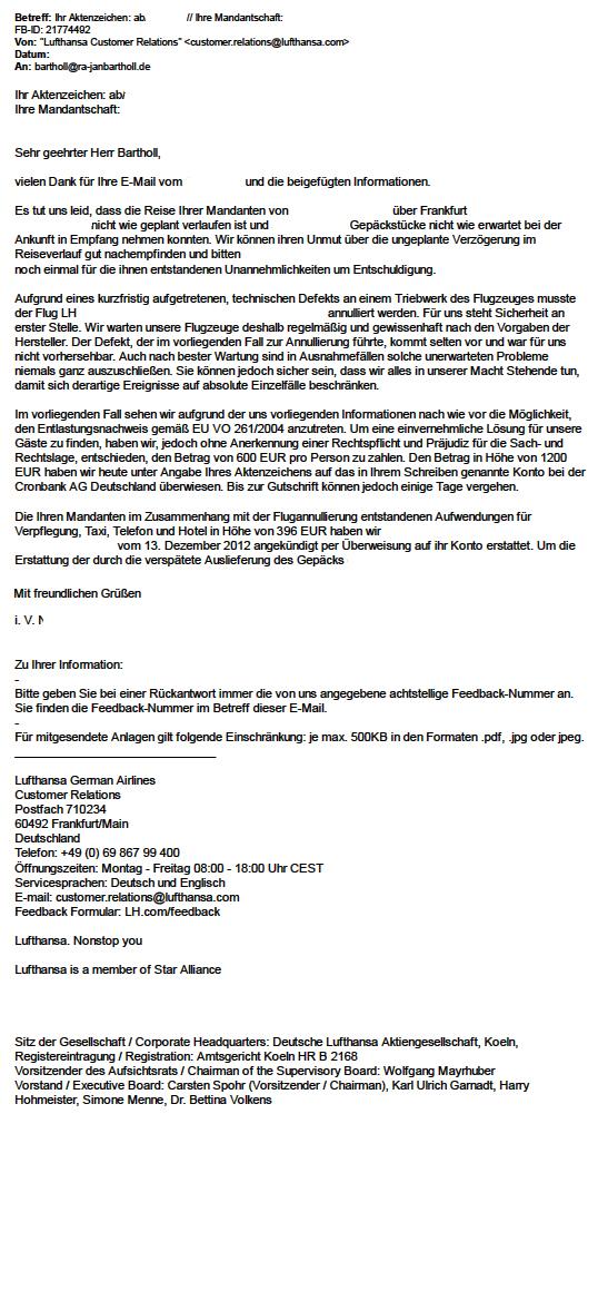 Entschädigung von Lufthansa für Downgrade von Business auf Economy ...