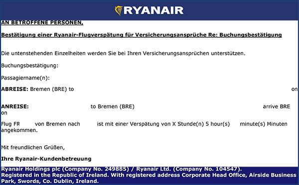 Muss Ryanair Anwaltskosten übernehmen Wenn Sie Wegen Flugverspätung