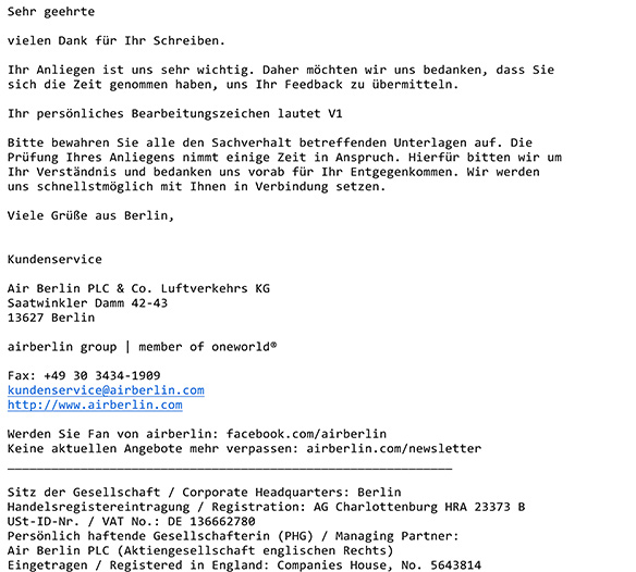 Air Berlin Flugverspätung Musterbrief